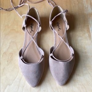 Qupid Flats, size 6 - Taupe